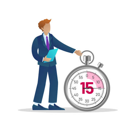 Office time management. Businessman standing at huge stopwatch. Business process optimisation, time management, deadline and punctuality concept flat vector illustration Vettoriali