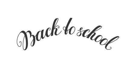 Back to school handwritten lettering. Modern brush ink calligraphy text for website, banner, card, invitation template design vector illustration.