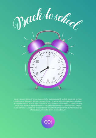 Back to school landing page. Education and study web page, stationery store website, mobile app with classic ringing alarm clock flat style vertical vector illustration