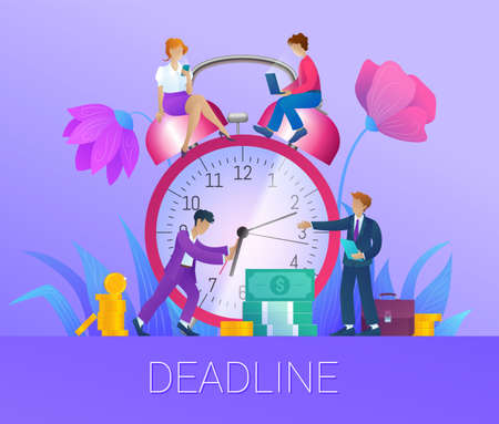 Deadline, time management concept. Tiny people trying to turn back arrows of huge alarm clock. Business team working together with gadgets, effective workflow organization flat vector illustration