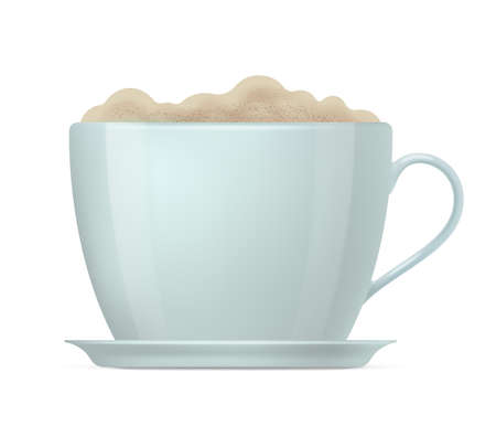 Realistic cup of cappuccino, latte beverage with foam. Hot coffee drink. Side view of classic white ceramic cup and saucer realistic vector illustration isolated on white
