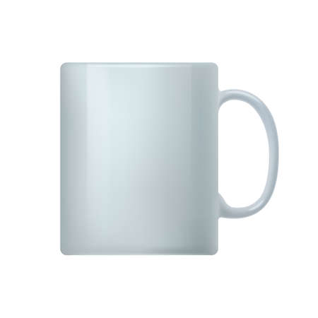 White coffee mug. Side view of white ceramic cup. Mockup template for branding identity or your design realistic vector illustration isolated on white