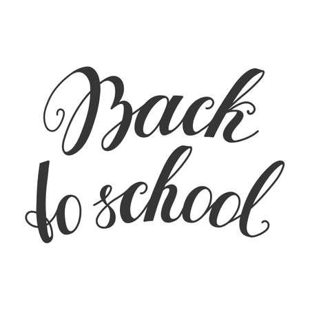 Back to school calligraphy phrase. Brush ink handwritten lettering for website, banner, card, invitation template or your own design vector illustration. Vettoriali