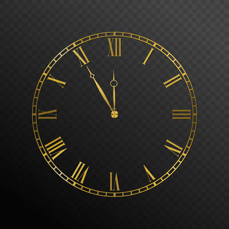 Mechanical golden wall clock. Luxury elegant round clock dial plate with roman numerals, Five to twelve holiday countdown vector illustration isolated on white background