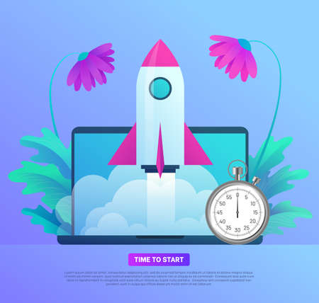 Business start up banner template. Time to start. Space rocket flying out from laptop screen with stopwatch. Optimisation, deadline and punctuality concept flat vector illustration on white background Vettoriali