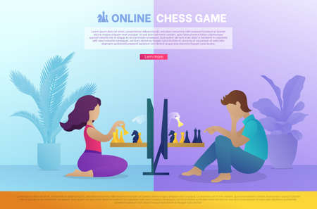 Online chess game landing page template. Boy and girl sitting in front of computer screens playing strategic intellectual game. Online chess tournament website, homepage. Flat vector illustration