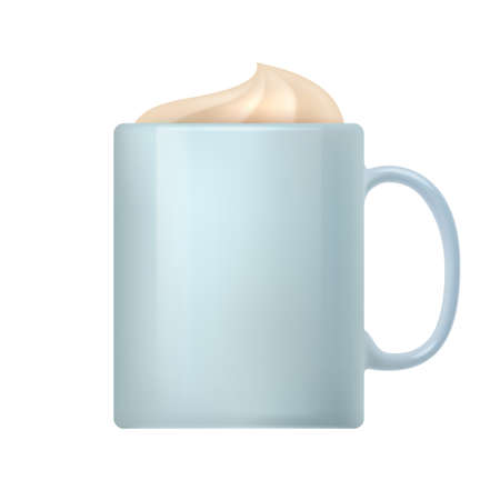 Mug of hot coffee beverage with whipped cream. Side view of white ceramic cup of cappuccino or latte coffee drink realistic vector illustration isolated on white Vettoriali
