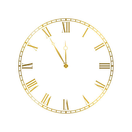 Golden elegant roman numerals clock. Luxury glossy golden clock face dial of round shape vector illustration isolated on white background