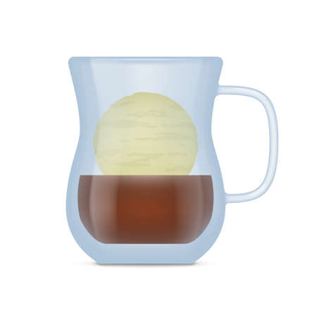 Transparent mug of coffee drink. Side view of glass of glace coffee beverage with espresso and ice cream layers realistic vector illustration isolated on white