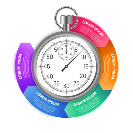 Stopwatch with options of circular shape. Business infographics template for presentation, advertising, report design. Colorful sections with timer in the center flat vector illustration Vettoriali