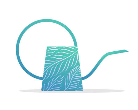 Turquoise watering can. Side view of gardening tool equipment for plant watering and care flat vector illustration isolated on white background