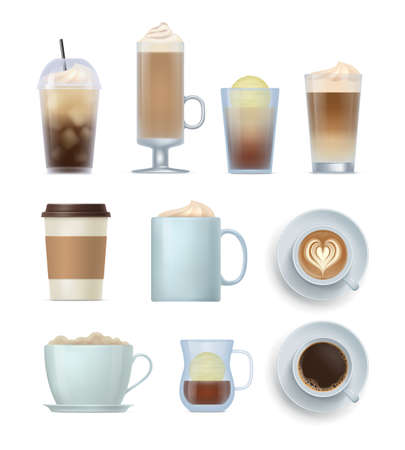 Realistic coffee drinks set. Aroma beverages in glass, ceramics, disposable mugs and cups various vector illustration isolated on white background Vettoriali