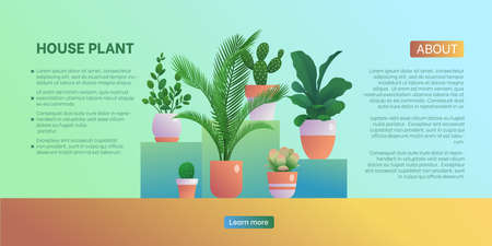 House plant landing page template. Home gardening website, homepage, Home organic interior design, urban jungles concept flat vector illustration
