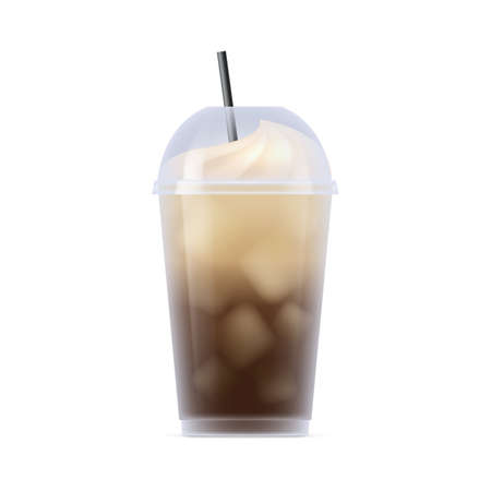 Cold brew coffee plastic transparent cup. Aroma cold beverage with whipped cream in transparent mug with straw realistic vector illustration isolated on white background Vettoriali