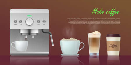 Make coffee banner template. Modern coffee maker machine and various cups of coffee drinks. Coffee shop, cafe, restaurant design realistic vector illustration Archivio Fotografico - 154585892