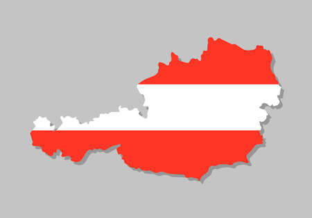 Austrian flag on the map. High detailed map with Austria flag inside. European country borders vector illustration on light gray background Vettoriali