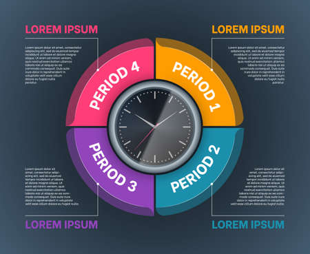 Clock with period segments of circular shape. Business infographics template, workflow layout, presentation chart, report design. Colorful sections with timer in the center flat vector illustration