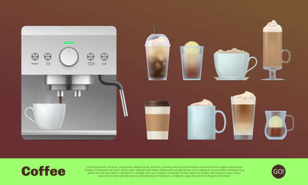 Coffee shop landing page template. Modern coffee maker machine and various cups of coffee drinks. Coffee house, cafe, restaurant, bar design realistic vector illustration