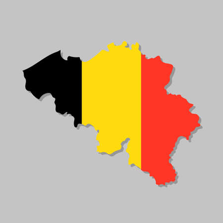 Belgian flag on the map. High detailed Belgium map with flag inside. European country borders vector illustration on light gray background Vettoriali