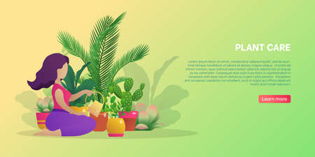 Plant care banner template. Young woman taking care of green house plants. Planter hobby, botanical interest, home gardening website, homepage flat vector illustration