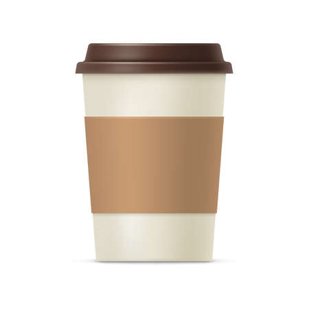 Disposable take out coffee cup. Side view of blank brown cardboard coffee mug with plastic lid for latte, espresso, cappuccino drink realistic vector illustration isolated on white Vettoriali