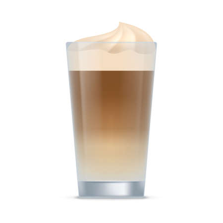 Glass of latte coffee drink. Aroma beverage with whipped cream in transparent cup realistic vector illustration isolated on white background Stock Illustratie