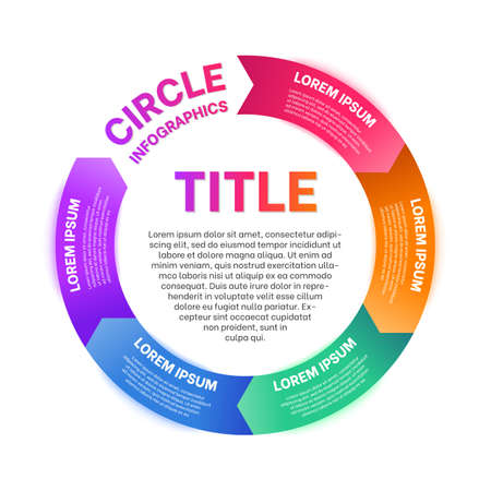 Business circle infographics template. Cycle diagram with coloful sections and space for text in the center. Presentation, advertising, report design flat vector illustration