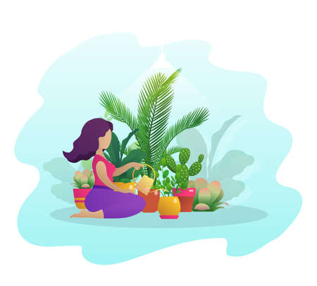 Woman taking care of houseplants. Girl watering plants growing in pots with watering can. Planter hobby, botanical interest, home gardening concept flat vector illustration Archivio Fotografico - 154933413