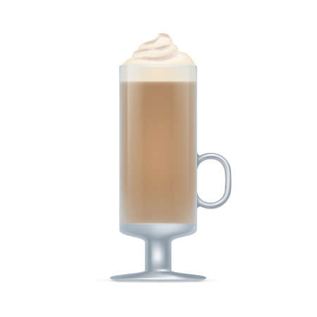 Glass mug of coffee drink. Aroma glace beverage with whipped cream in transparent mug realistic vector illustration isolated on white background Vettoriali