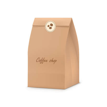 Brown paper bag. Produt snack bag ecological packaging for coffee shop, cafe and restaurant realistic vector illustration