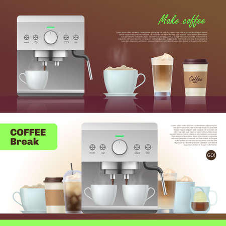 Coffee break banner templates set. Modern coffee maker,cups and mugs of various coffee drinks flyer, homepage design realistic vector illustration Vettoriali