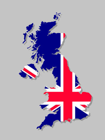 British flag on the map. High detailed United Kingdom map with flag inside. European country borders vector illustration on light gray background