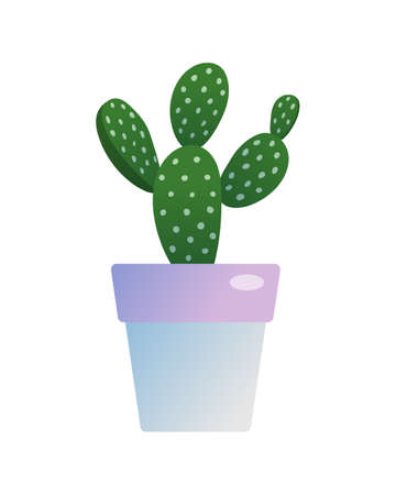 Prickly pear cactus houseplant in flowerpot. Indoor potted opuntia plant for home or office interior decoration botanical design flat vector illustration isolated on white background
