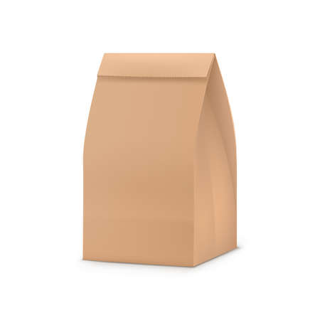 Paper bag package. Blank brown paper snack bag for your design. Shop, cafe and restaurant packaging template realistic vector illustration