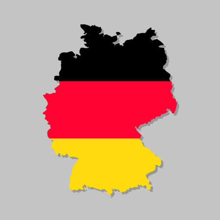 German flag on the map. High detailed Germany map with flag inside. European country borders vector illustration on light gray background