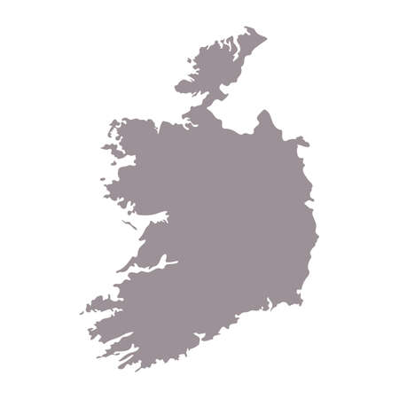 Ireland blank map silhouette. High detailed editable gray Ireland map. European country borders vector illustration on white background Vettoriali