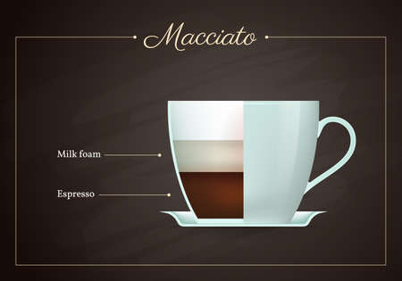 Macchiato coffee drink recipe. Cup of hot tasty beverage on blackboard. Preparation guide with layers of milk foam and espresso proportions flat design vector illustration. Vettoriali