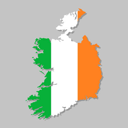 Irish flag on the map. High detailed Ireland map with flag inside. European country borders vector illustration on light gray background Vettoriali