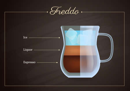 Freddo coffee drink recipe. Glass mug of hot tasty beverage on blackboard. Preparation guide with layers of ice, liquor and espresso flat design vector illustration.