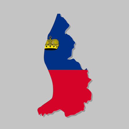 Liechtenstein national flag on the map. High detailed Liechtenstein map with flag inside. European country borders vector illustration on light gray background Archivio Fotografico - 155618145