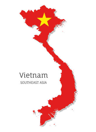 Map of Vietnam with national flag. Highly detailed editable map of Vietnam, Southeast Asia country territory borders. Political or geographical design element vector illustration on white background