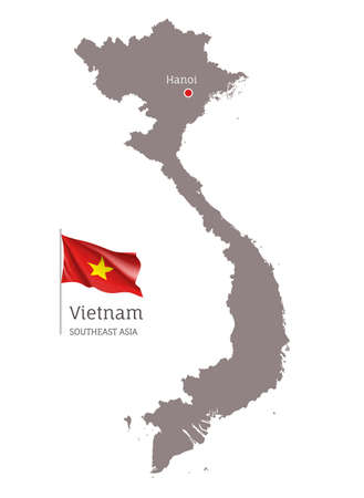 Silhouette of Vietnam country map. Highly detailed gray map and national flag and Hanoi capital, Southeast Asia country territory borders vector illustration on white background Archivio Fotografico - 156864727