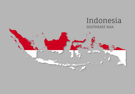 Map of Indonesia with national flag. Highly detailed editable mapIndonesia of Indonesia, Southeast Asia country territory borders. Political or geographical design element vector illustration Archivio Fotografico - 156864729