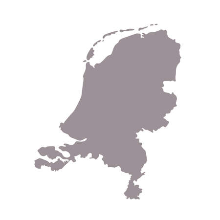 Netherland blank map silhouette. High detailed editable gray map of Netherland, European country borders vector illustration on white background