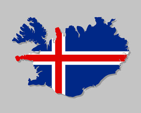 Icelandic flag on the map. High detailed Iceland map with flag inside. European country borders vector illustration on light gray background