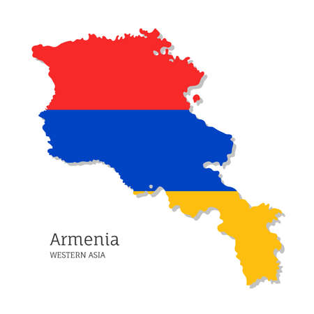 Map of Armenia with national flag. Highly detailed editable map of Armenia, Western Asia country territory borders. Political or geographical design element vector illustration on white background Ilustracja