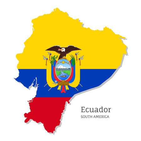 Map of Ecuador with national flag. Highly detailed editable Ecuadorian map, South America country territory borders. Political or geographical design vector illustration on white background Ilustracja