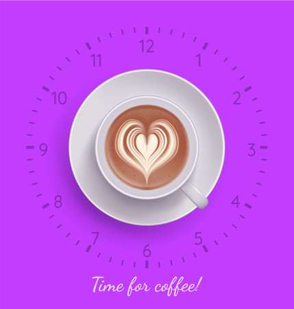 Time for coffee banner. Creative poster of fuchsia color with handwritten inscription, clock and cup of cappuccino, latte beverage. Coffee shop, cafe design template flat vector illustration