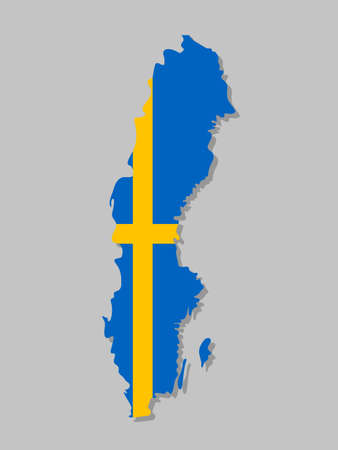 Swedish flag on the map. High detailed Sweden map with flag inside. European country borders vector illustration on light gray background
