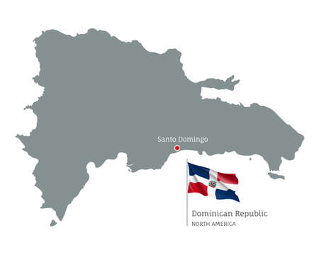 Silhouette of Dominican Republic country map. Gray editable map with waving national flag and Santo Domingo capital, North America country territory borders vector illustration on white background 矢量图像
